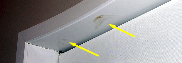 Water Stains At Top Of Leaky Window
