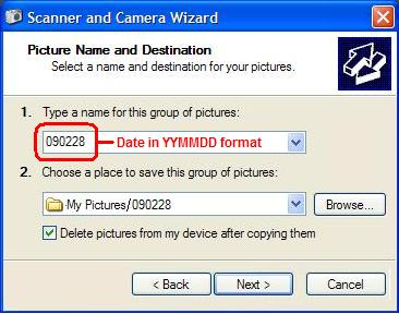 Save your pictures to a folder named for the date in YYMMDD format.
