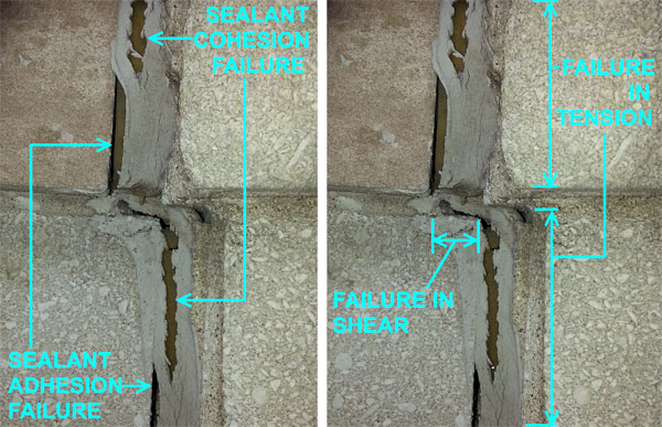 Caulk adhesion and cohesion failures in tension and shear