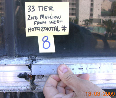 Documentary photo of curtainwall showing location key