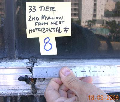 Documentary photo of curtainwall showing location key