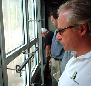 Mark Meshulam, Chicago Window Expert witnesses laboratory test of aluminum window