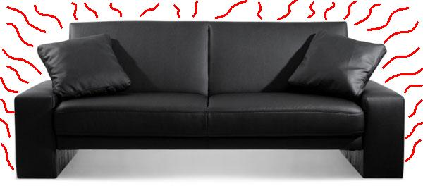 Your stylish black sofa is is a passive solar collector. After absorbing light energy from the sun, it releases that energy in longer wavelength infrared radiation, heating your living space.