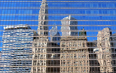 Buildings with glass reflected through glass