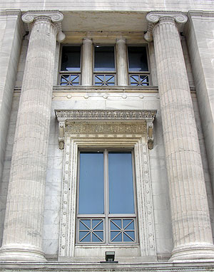 Details of replacement windows harmonize perfectly with the elaborate detailing of the Field Museum's facade
