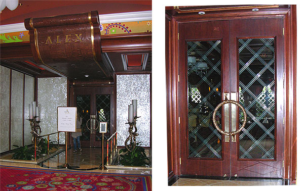 This elaborate and beautiful entrance to the Alex Restaurant in the Wynn Hotel uses a diamond pattern cross hatching cut into the glass. This simple treatment greatly enhances the overall design.