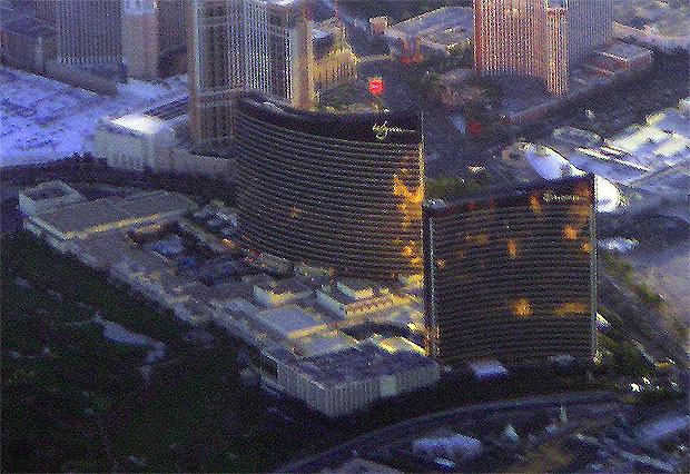 Aerial view of the Wynn Hotel and Encore Hotel. I couldn't even rest on the airplane.