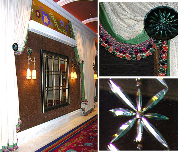 Draperies, mirrors and glass ornamentation provide for an entertaining stroll at he Wynn Hotel promenade.