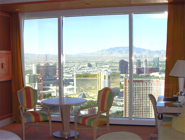 Floor to ceiling glass at the Wynn Hotel brings the outside in.