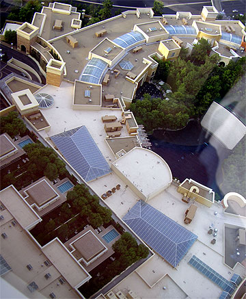 Skylights on the roof at the Wynn Hotel. How many can you count?
