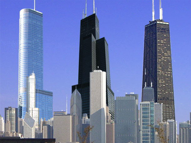 Trump Tower, Willis Tower and Hancock Center, three world-famous Skidmore Owings & Merrill,LLC projects in Chicago