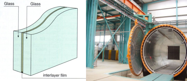 Laminated glass (left) is produced under heat and pressure in an autoclave (right)