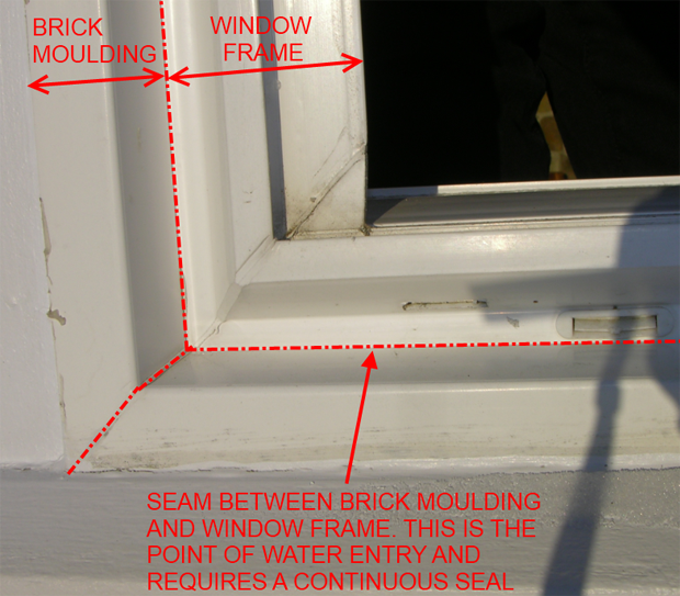 Gaps between brick mold and window must be sealed continuously