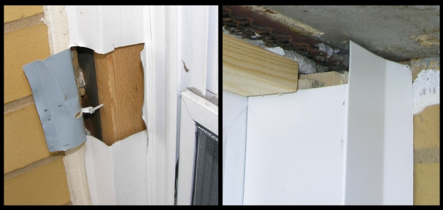 When vinyl windows are replaced, thin aluminum sheet metal known as capping is formed on site and applied to the perimeter of the window. Left: Capping peeled away to reveal wood far behind so that capping is not supported. This capping was held in place with a face-nail. Right: New capping being installed so that its contour is visible. Outward bend in capping makes a good caulk joint design very difficult.