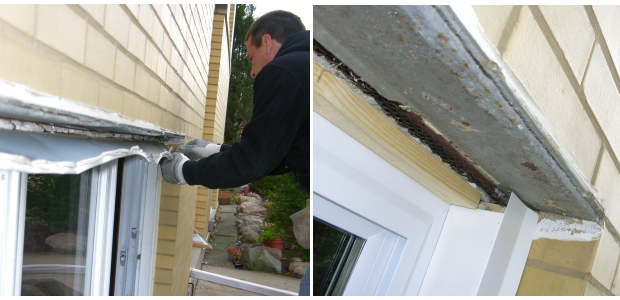 Too often, installers do not understand that water must drain from the top of the steel lintel - the angle that holds up the brick above. So, they clad the lintel with capping so that water goes into the window system, where it is uncontrolled and eventually becomes a rusty leak. At left, the installer is removing the flimsy capping