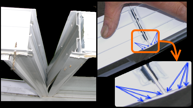 Left: Vinyl window mullion is split open revealing an aluminum stiffener and an absence of sealant between the H-section and windows. This assembly leaked. Right: New assembly has sealant present between H-section mullion and adjacent windows at exterior plane (inset)