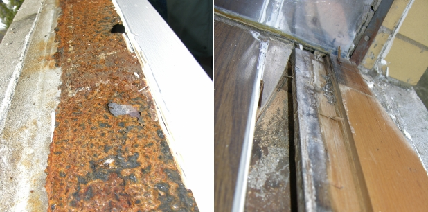 Water damage beneath leaking vinyl window frame. Leaks rusted out the steel opening liner, then went on to attack the wood.