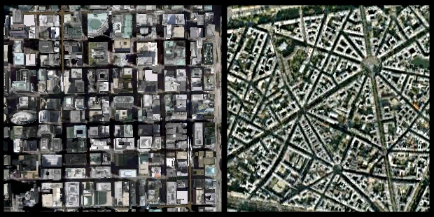 Map of Chicago (left) and Paris (right) show dramatically different concepts of city planning. Chicago's grid structure is efficient for transportation by wheeled conveyances. Paris' hubs, spokes and circles are conducive to closer-to-home foot traffic.