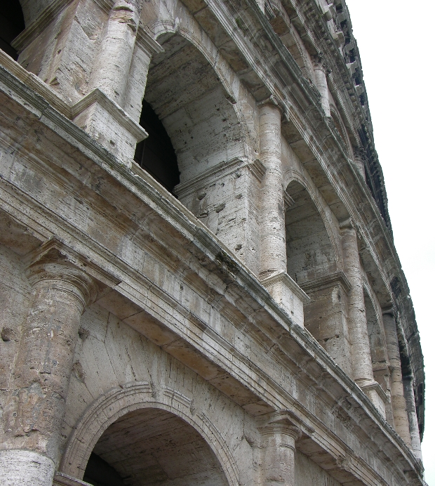 Pock-marked Colosseum, Rome, is arguably one of the greatest engineering feats of all time. Built by emperor Vespasian, then his son Titus (using funds from the plunder of Jerusalem) in only 8 years (72 thru 80), this 50,000 spectator sports complex (if you consider