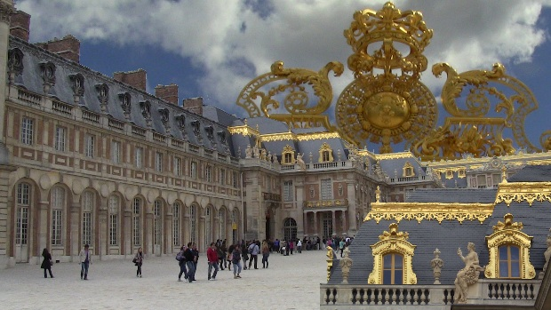 "Photo montage of the Palace of Versailles. It's hard to escape the symbolism that assails the visitor. ""I am the richest dude ever"", proclaims Louis XIV."