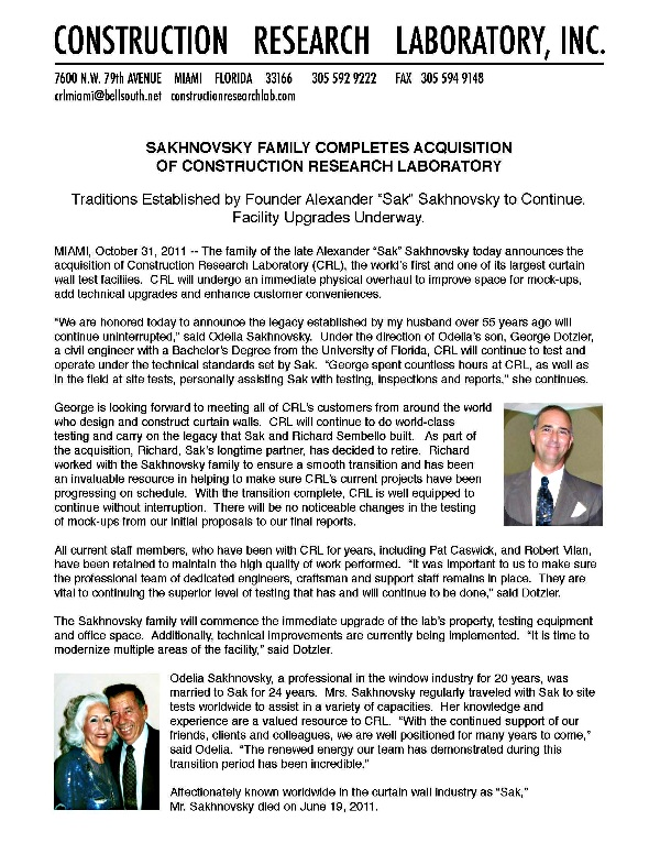 Construction Research Lab Announcement