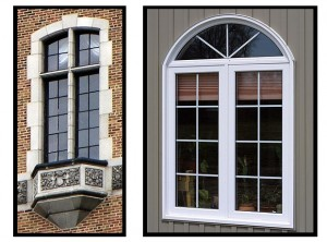 Real steel casement at left is emulated by wood-clad casement on right. Although the in-glass muntin is narrow, being behind the glass weakens the impression of a true divided lite window. Heavy perimeter frame conflicts with the airy muntin look