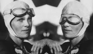 Amelia Earhart with and without goggles