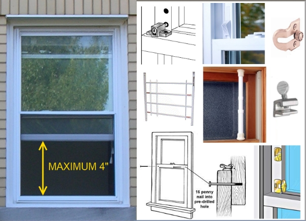 Window safety locks for double hung windows prevent child falls from windows