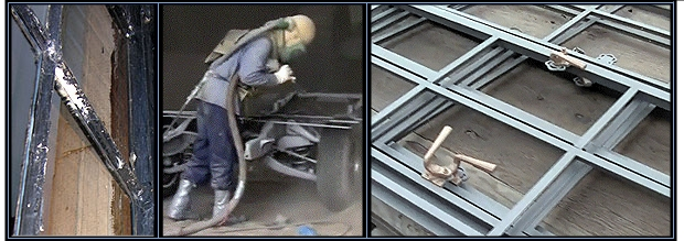Sandblasting steel windows
