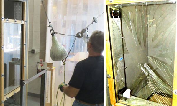 Impact test for glass breakage
