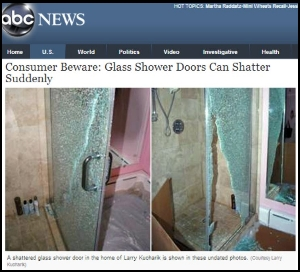 ABC news item about shattering shower doors