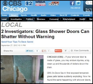 CBS news report on shattering shower doors