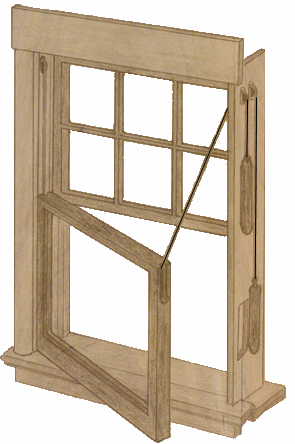 Wood double hung with ropes, pulleys and counterweights