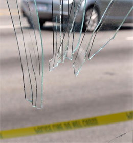 Glass shards above first responders