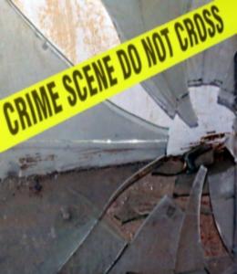 Broken glass at crime scene