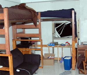 Taylor Cothran's college dormitorty room after fall from window