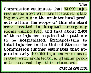 Quote from CPSC 16 CFR 1201 regarding high incidence of glass injuries that prompted development of the safety glazing standard