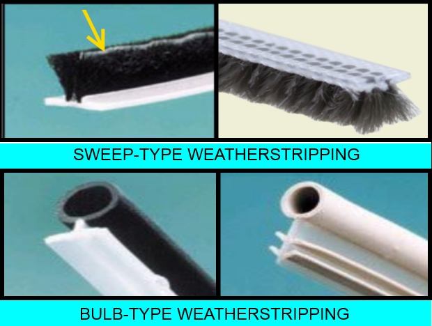 Types of window weatherstrips, sweep-type and bulb-type