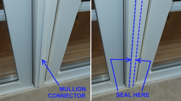 Mullion connector between windows is often loose and unsealed, allowing air infiltration leaks