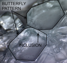 Focal point of spontaneous tempered glass break. Butterfly pattern in glass pieces. Nickel sulfide inclusion may be found on the border between the two pieces
