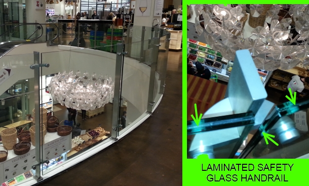 Laminated safety glass handrail at Eataly Restaurant