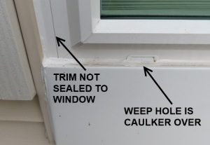 Window installer seals weep hole shut but fails to seal trim