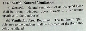 Chicago Building Code regarding natural ventilation , an important consideration when you replace weatherstripping