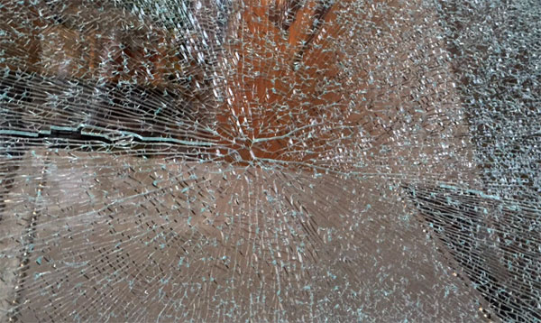Close up photo of glass breakage origin