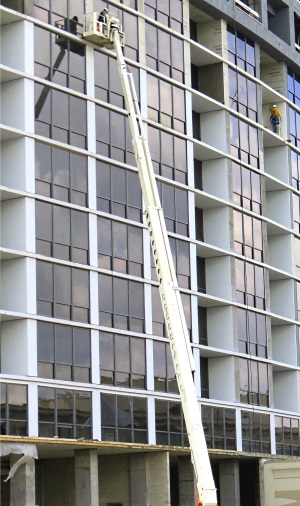 Mark Meshulam, Chicago Window Expert on boom lift