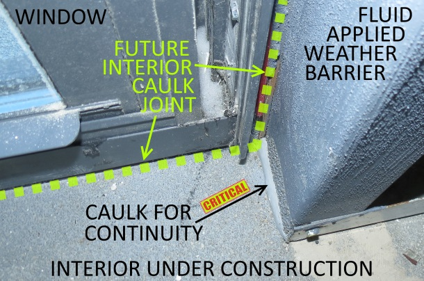 Interior view of weather barrier and interior caulk