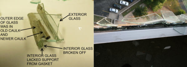 Hilberling glass shards in window opening