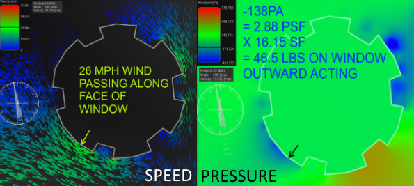 Wind simulation at Hilberling window