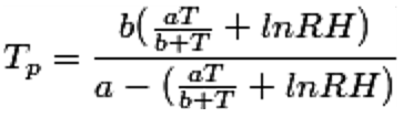 Formula for calculating dewpoint