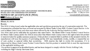 Miami-Dade Notice of Acceptance for hurricane window product